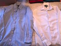 two white and blue dress shirts