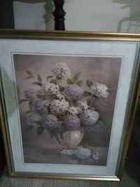 white and pink flower painting with brown wooden frame Maple Ridge, V2X