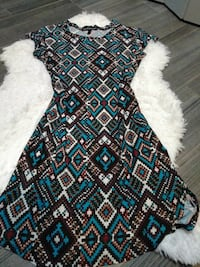black, blue, white, and green tribal print scoop-neck cap-sleeved long dress Mission