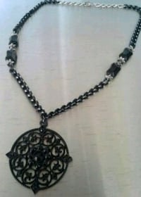 Brand New Black Filigree Disc Necklace  Aurora, 44202
