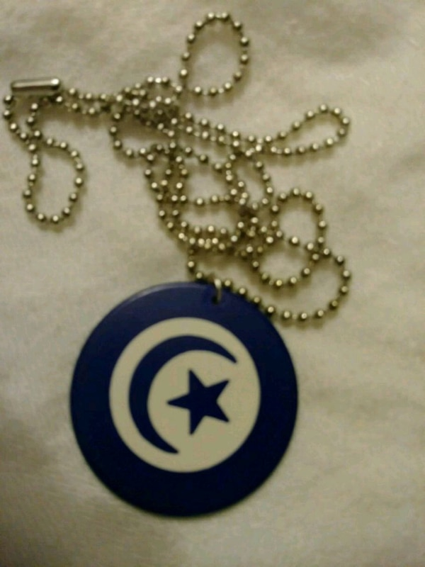 Vintage poker chip on necklace BLUE MOON AND STAR