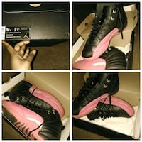 pair of black& Pink Air Jordan