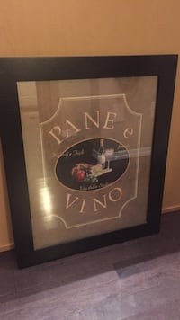Pane e Vino poster with black wooden frame