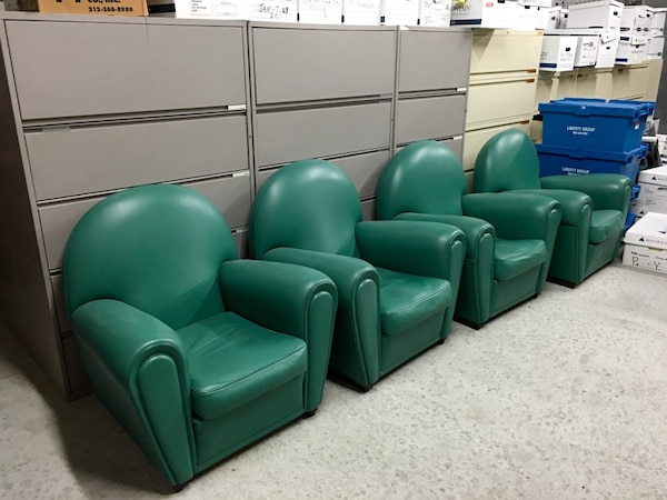 Used Vanity Fair Poltrona Frau green leather arm chairs for sale in ...