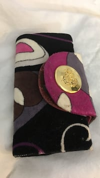 black, white, and purple fabric bifold wallet