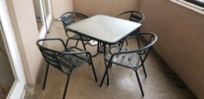 Metal and Glass Outdoor Patio Table & Chairs