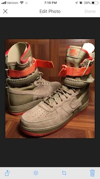 NIKE SF AF1 KHAKI TAN/RUSH CORAL PINK -SPECIAL FIELD AIR FORCE-STRAPS Men's 12 new New York, 10453