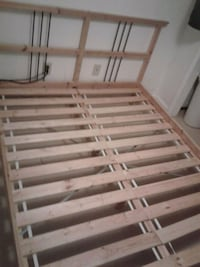white and brown wooden slatted bed frame Woodbridge, 22191