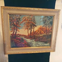 Vintage Framed Needlepoint River Theme