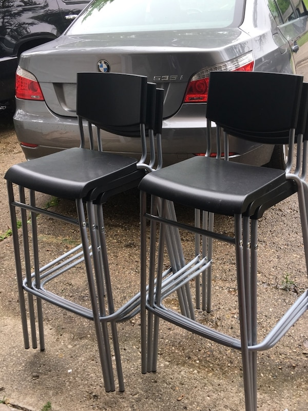 Groovy Ikea Stig Bar Stool With Backrest Black Silver Color Gmtry Best Dining Table And Chair Ideas Images Gmtryco