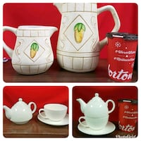 2 ceramic pitchers and 1 teacup set in excellent condition  Brampton, L6W 1V2
