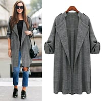 New heather grey trench coat style light cartigan Montreal, H8T