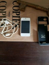 white iPhone 4 with case and charger Ajax, L1T 2R2