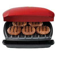 Brand New George Foreman Grill, Classic Plate Grill and Panini Press, 5 Servings, Red Markham