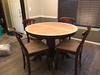 Round Natural Dining Counter Height Table with Leaf & 4 Brown Microfiber Chairs Ashburn, 20147