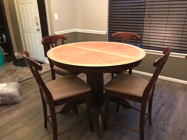 Round Natural Dining Counter Height Table with Leaf & 4 Brown Microfiber Chairs