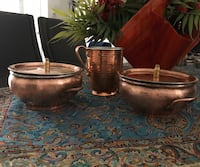 Hand-Hammered Copper mug and pans with lid Washington, 20015