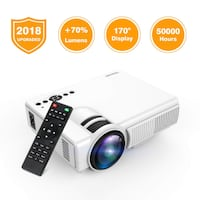 Projector, TENKER Q5 LED Mini Movie Projector Support 1080P HDMI USB TF VGA AV, Multimedia Home Theater LCD Video Projector, White Woodbridge