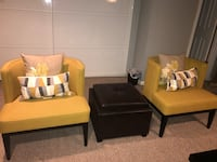 Crate and Barrel Chairs - 2  Yellow - inc. 4 accent pillows - Like New Silver Spring, 20993