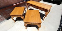 Vintage Solid Oak Sofa Table & 2 End Tables Whittier