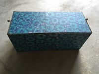 Metal, storage box  With lid & seat cushion 14 in.x 13 1/2 in,x 32 in.