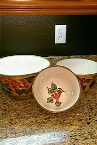 white and red floral ceramic bowl Temecula