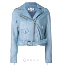MICHAEL Michael Kors NWT reatail $597 new this season baby blue biker moto genuine leather jacket Silver Spring, 20901