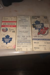 Maple leafs ticket stubs from maple leaf gardens  Toronto, M5S 2J2