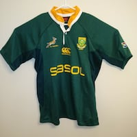 Like new mens LARGE South Africa Rugby Jersey  Green yellow Nice soft  Edmonton, T6X 1G7