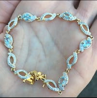 Vintage signed gold blue topaz bracelet  Mobile, 36608