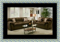 Chocolate fabric sofa and loveseat Cheverly