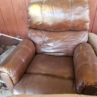brown leather recliner sofa chair WILMINGTON