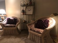 Two wicker chairs custom upholstery with bakers rack   Powell, 43065