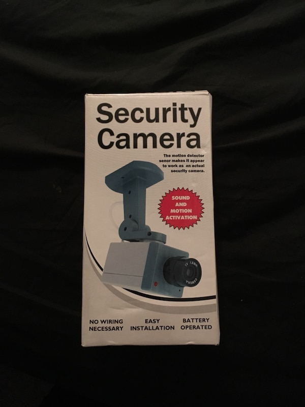 Blue and white security camera box
