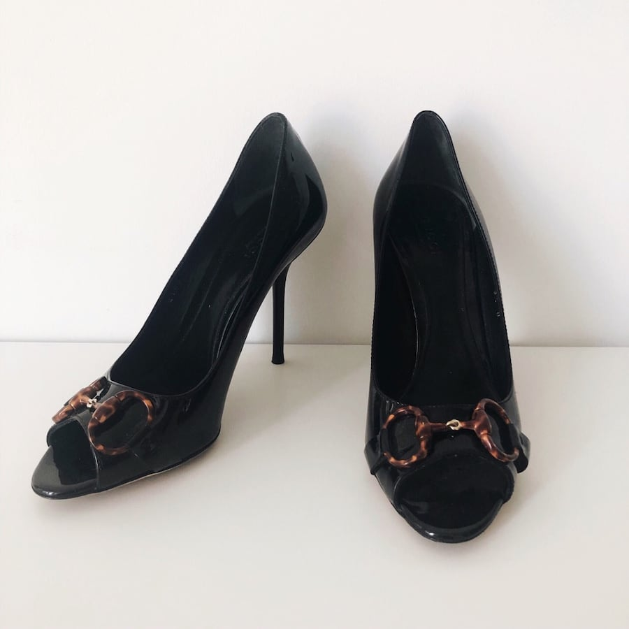 Gucci Horsebit Peep Toe Pumps