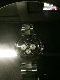 round silver-colored chronograph watch with link bracelet Los Angeles, 90062