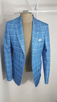 blue and white single-button suit jacket
