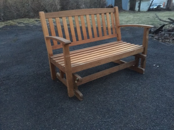 Used Outdoor Wood Bench Glider Natural For In West Caldwell Letgo