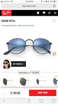 black framed Ray-Ban sunglasses screenshot Lafayette, 47909