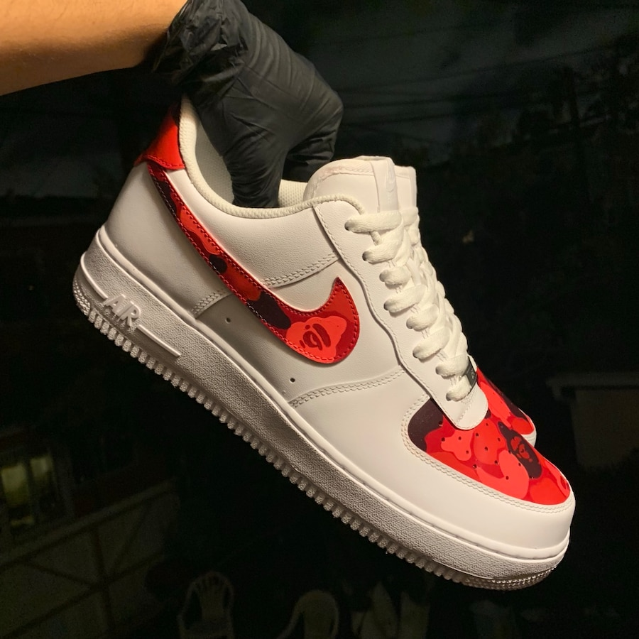 Red Bape Camo Custom Nike Air Force 1