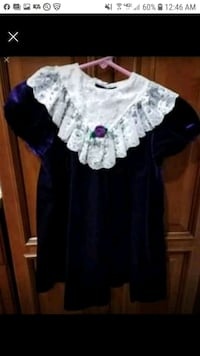Girls Dress Purple Velvet White Lace size 6 6X Paramus, 07652