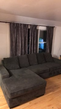 Charcoal blue/grey microfibre sectional Calgary, T2T