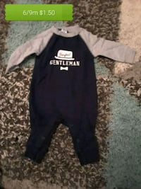 black and gray long-sleeved onesie