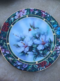 white petaled flower and humming bird decorative plate Innisfil, L9S 2M1