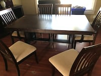 Rectangular brown wooden table with six chairs dining set Mission, V2V 6B2