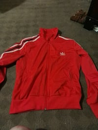 red and white Adidas zip-up track jacket Spruce Grove, T7X 0B3