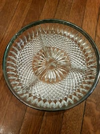 Silver plated boarder crystal appetizer dish