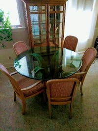 Glass table brown wooden pedistal dining table set