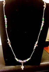 Cross pendant with Crystal & glass bead costume jewelry necklace