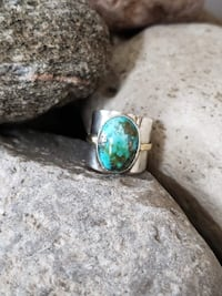 925 Sterling Silver Natural Turquoise Ring - Size 7 Burlington